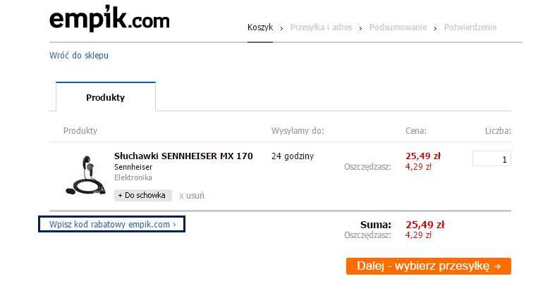 Koszyk zakupowy na stronie empik.com