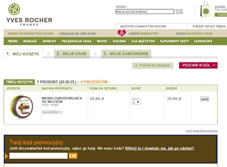 Koszyk w internetowym sklepie Yves Rocher