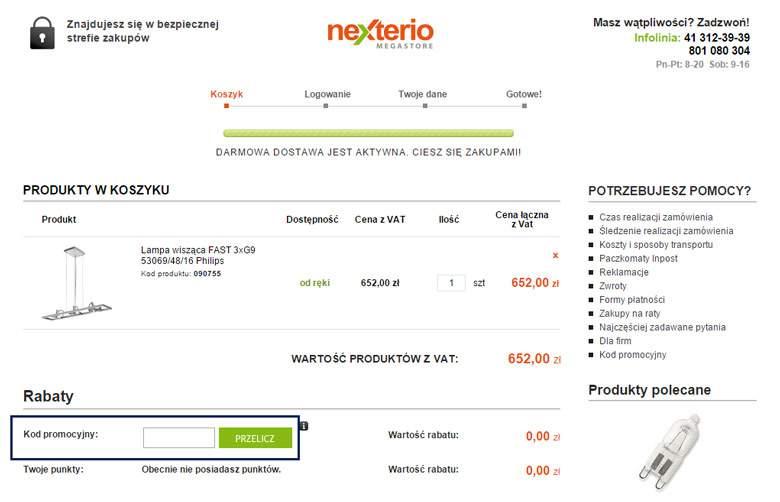 Koszyk zamówienia w Nexterio