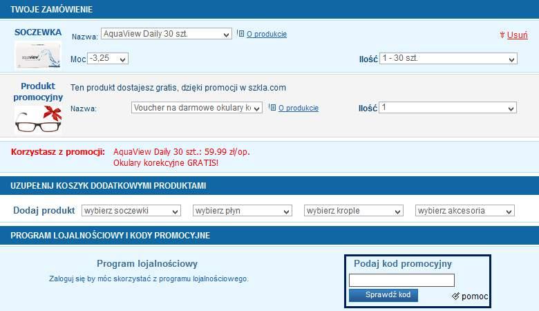 Koszyk zakupowy w Szkla.com