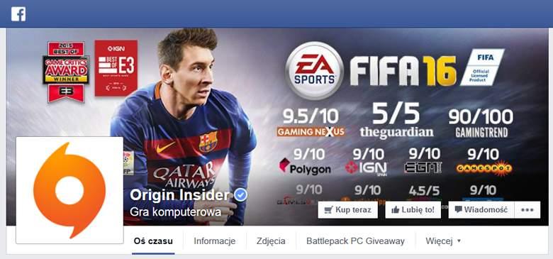 Origin na Facebooku