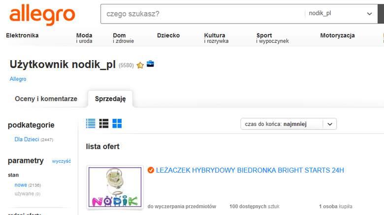 Profil sklepu Nodik na Allegro